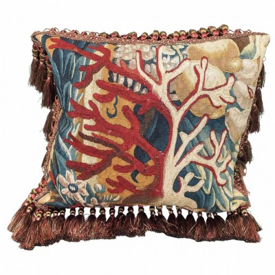 17th Century Aubusson Tapestry Fragment Depicting Red Coral Now as a Cushion