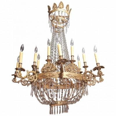 Italian Gilt Iron and Crystal Empire Style Chandelier