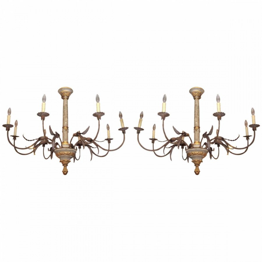 Pair of tuscan chandeliers with ionic capital decoration kevin pair of tuscan chandeliers with ionic capital decoration arubaitofo Images