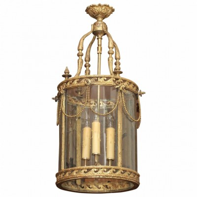19th Century French Gilt Bronze Lantern