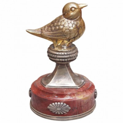 Russian Silver and Marble Figural Bird Paperweight