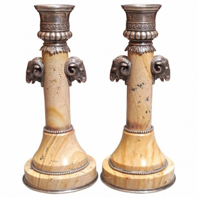 Pair of Russian Hardstone and Silver Candlesticks