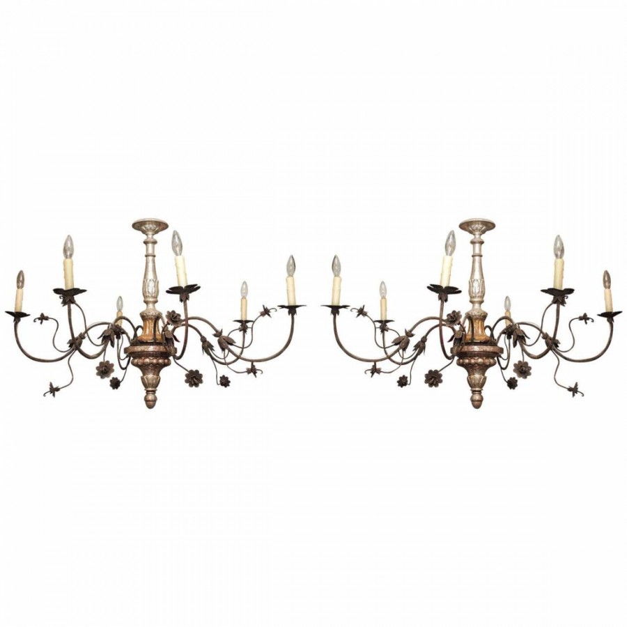 Small pair of silver gilt and iron tuscan chandeliers kevin stone small pair of silver gilt and iron tuscan chandeliers arubaitofo Images