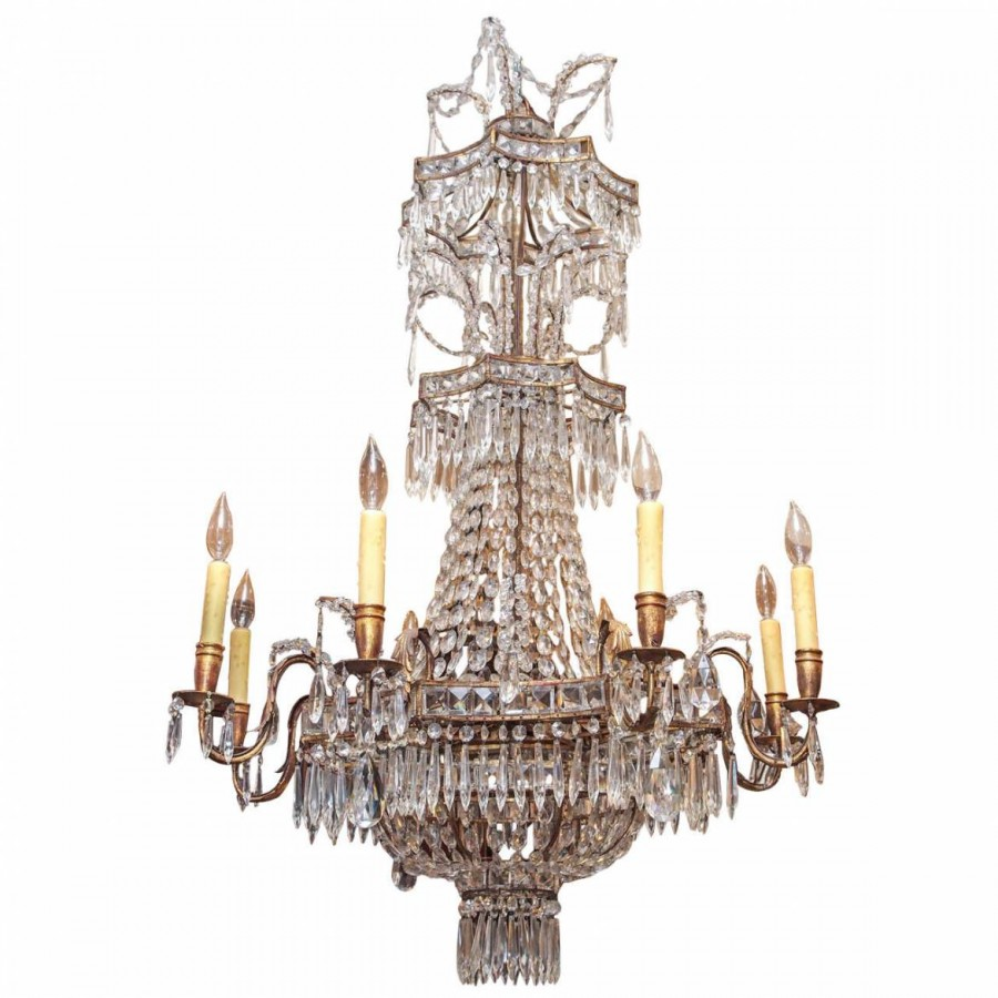 Italian Gilt Metal and Crystal Pagoda inspired Chandelier: Kevin ...
