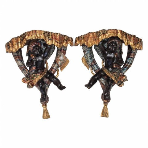Pair of Venetian Polychrome Blackamoor Wall Brackets