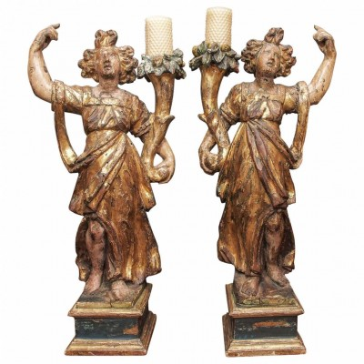 Pair of Italian Giltwood Maidens in Classical Dress with Cornucopia