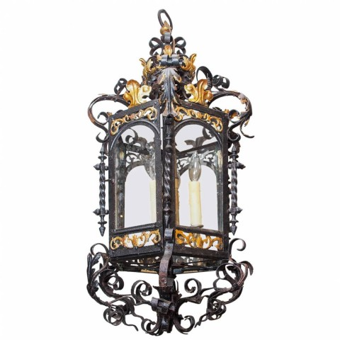 French Gilt and Painted Iron Lantern