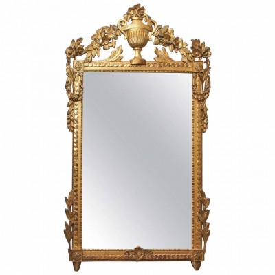 French Louis XVI Parcel-Gilt and Painted Mirror