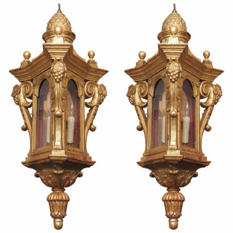 Pair of Italian Carved Giltwood Lanterns