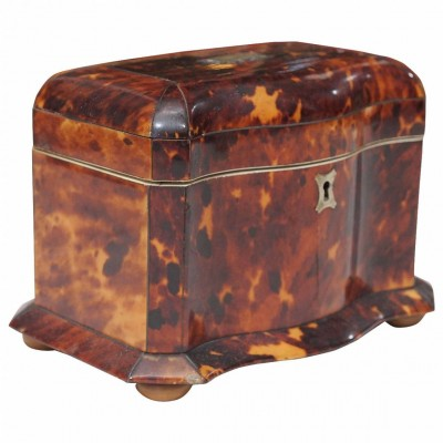 English Victorian Tortoiseshell Tea Caddy