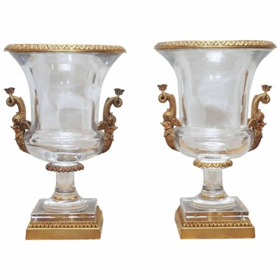 Pair of Crystal Campagna Form Gilt Mounted Urns
