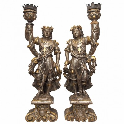 Pair of Italian 18th Century Figural Candlesticks