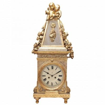 Italian Parcel Gilt and Painted Carved Wood, Obelisk Form Clock