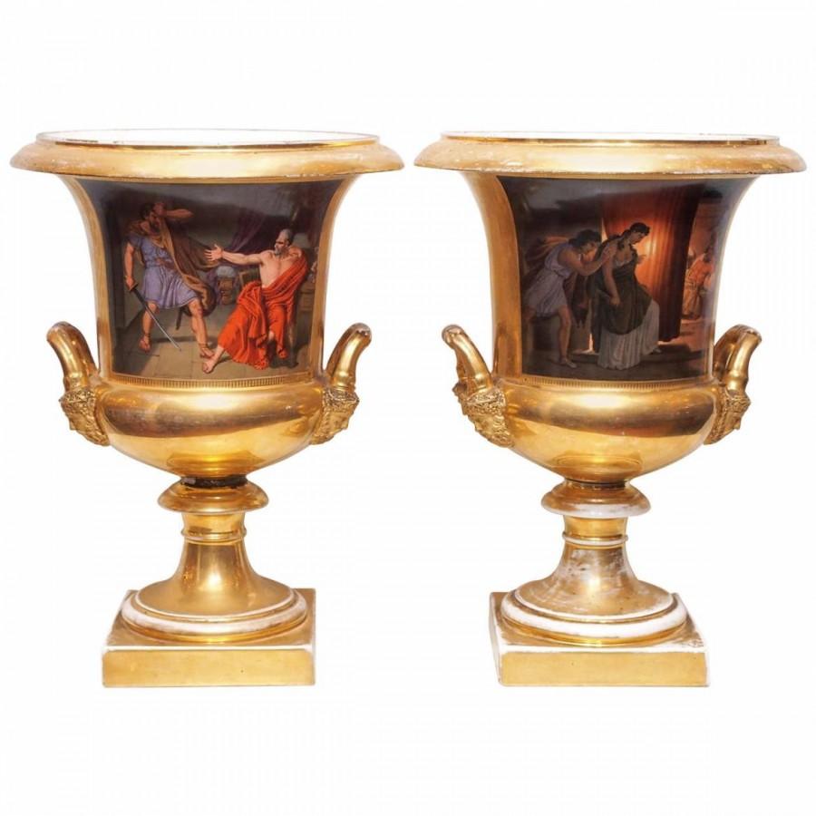 Pair Of Vieux Paris Porcelain Campagna Urns: Kevin Stone