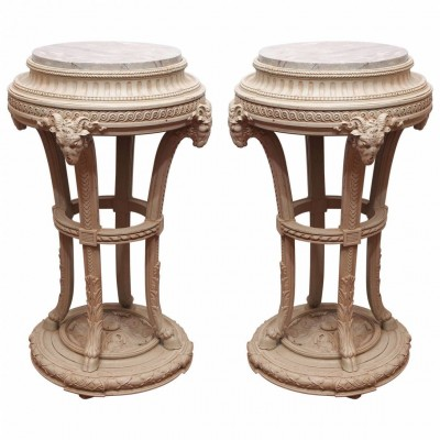 Pair of Louis XVI Style Painted Fishbowl Stands