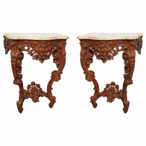 Pair of Louis XV Wall-Mounted Console Tables with Marble Top