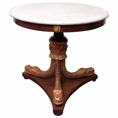 Biedermeier Round Table with Gilt Trifed Dolphin Supports