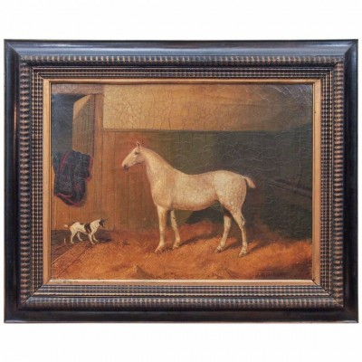 19th Century Portrait of White Horse and Dog in Stable