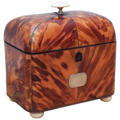 English George III Tortoiseshell Dome-Top Tea Caddy