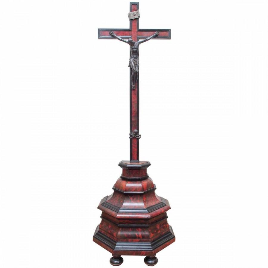 French Napoleon III Tortoiseshell and Ebony Crucifix