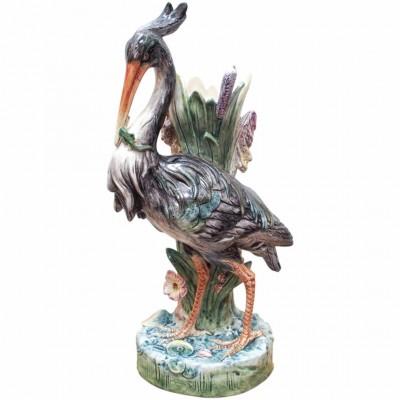 French Majolica Heron Vase