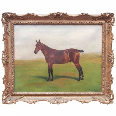 Portrait of a Bobtail Horse in Pasture, Painting