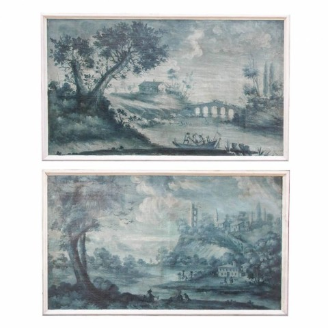 Pair of Large-Scale Grisaille Oil on Canvas Paintings