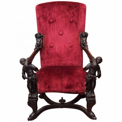 19th Century Italian Armchair with Blackamoor Supports