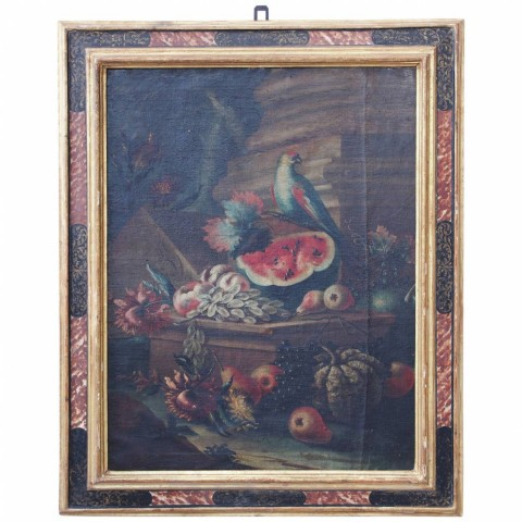 "Italian School 18th Century ""Still Life with Bird and Fruit"""