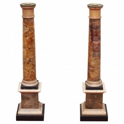 Pair of Derbyshire Spar Bluejohn Candlesticks, 19th Century