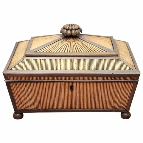 Indian Vizagapatam Horn and Porcupine Quill Box