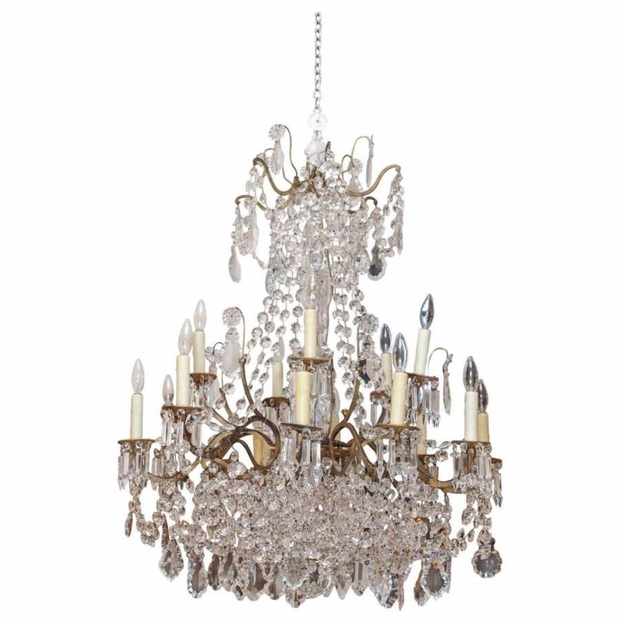 French 19th century gilt iron and baccarat crystal chandelier with french 19th century gilt iron and baccarat crystal chandelier with 14 lights aloadofball Choice Image