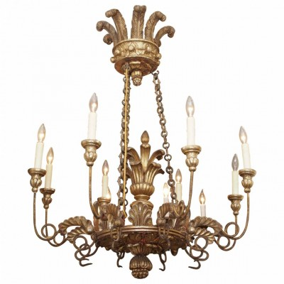 Italian 19th c. Gilt Wood Chandelier with Feathered Headress
