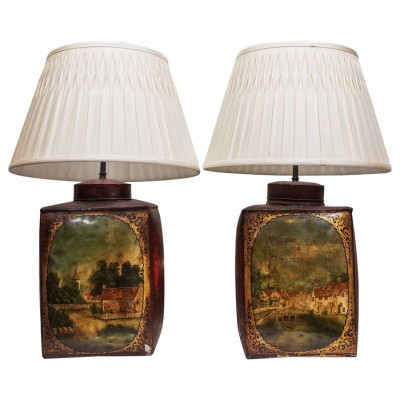 Pair of 19th Century Tea Tins Now Wired as Lamps