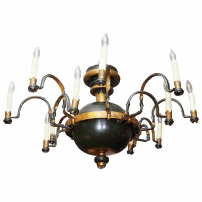 Pair of Globular Form Iron Gilt Trimmed 12-Light Chandeliers