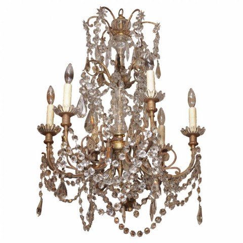 French Late 19th Century Bronze and Crystal Chandelier with Baccarat Crystals