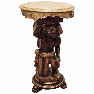 Venetian Polychromed Blackamoor Table