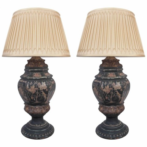 Pair of 19th Century Chinoiserie Decorated Wooden Finials as Lamps