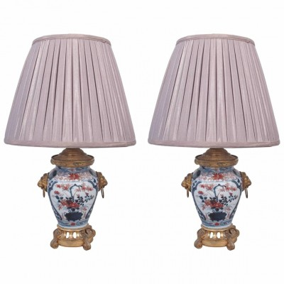 Pair of Japanese Imari Vases with French Gilt Bronze Mounts as Lamps