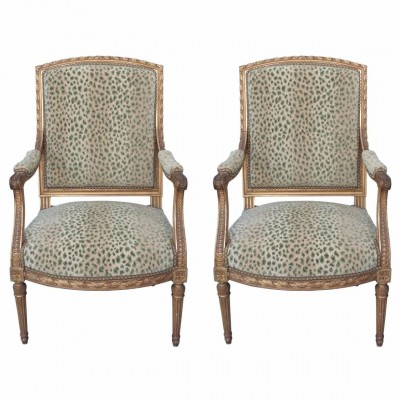 Pair of 19th Century Louis XVI Style Gilt Armchairs