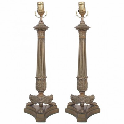 Pair of Bronze Trifed Base Column Lamps from Candlesticks