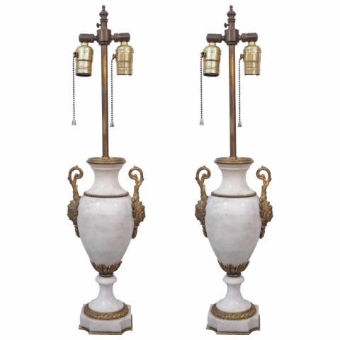 Pair of French Marble Gilt Mounted Garniture Now as Lamps