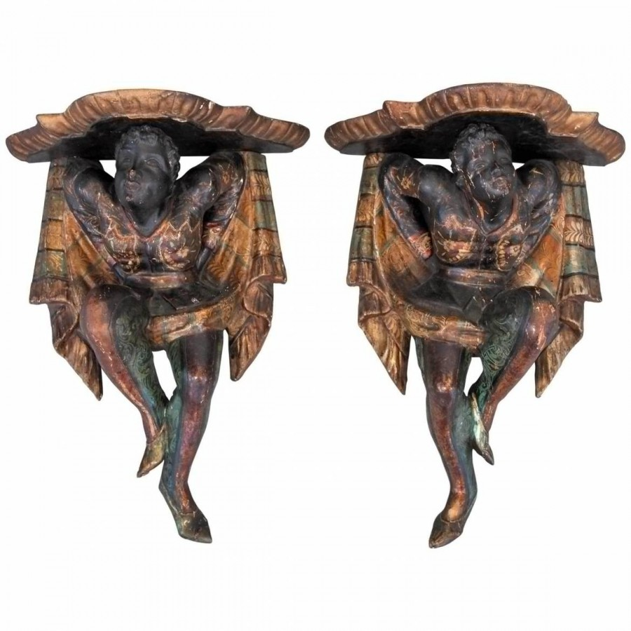 Venetian Polychrome Wall Brackets in Blackamoor Form