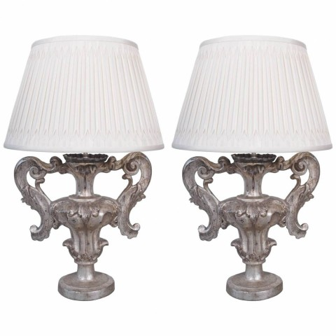 Pair of 19th Century Silver Gilt Urns Candlesticks Now Wired as Lamps