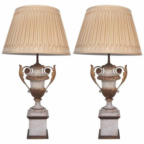Pair of 18th Century Parcel-Gilt and Pained Wood and Iron Lamps