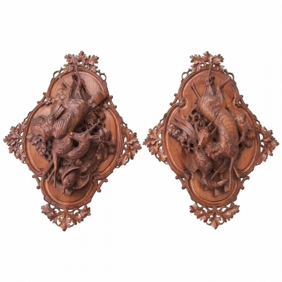 Pair of Black Forest Wall Plaques of Game