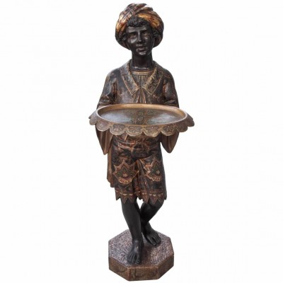 Venetian Polychrome Sculpture of Blackamoor Holding a Tray