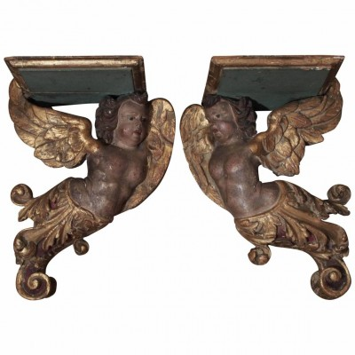 Pair of 17th Century Italian Polychrome and Parcel-Gilt Wall Brackets