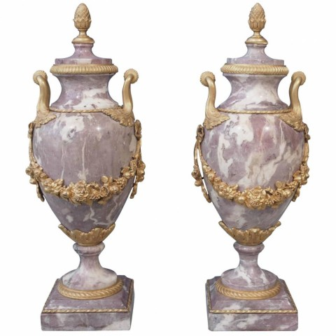 Pair of Gilt Bronze-Mounted Marble Garniture Urns