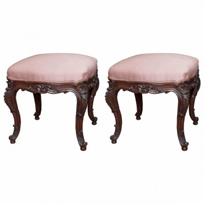 Pair of Louis XV Style Stools in Walnut